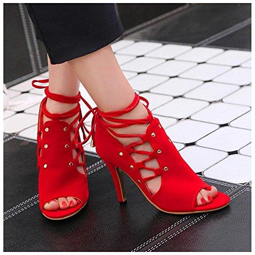 Femme Talons Taoffen Bride Sandales Hauts Red Classique Lacets Cheville Bottines À q7qTgwU