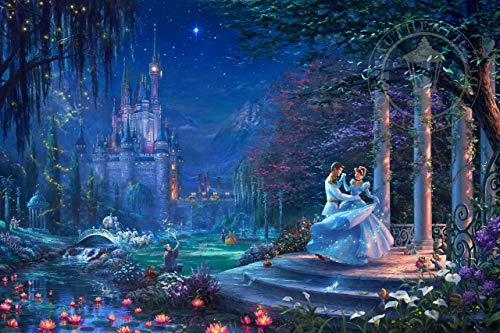 ($50-$2000 Handmade Paintings by College Teachers - Cinderella Dancing in The Starlight Thomas Kinkade LEPS6 - Decorative Oil Paintings on Canvas for Wall Art Decor)