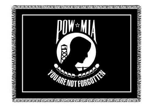 POW/MIA Afghan Throw Blanket US Military - Fringed 54