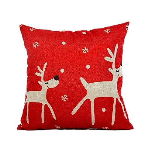 BEAUTYVAN Soft Christmas Pillow Case Sofa Waist Throw Cushion Cover Home Decor Red