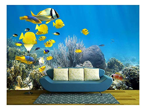 wall26 - Underwater Coral Reef Scenery with Colorful School of Fish - Removable Wall Mural   Self-Adhesive Large Wallpaper - 100x144 ()