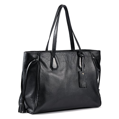 Logo Soft Leather - Kattee Women's Soft Leather Tote Briefcase Shoulder Bag Fits 15
