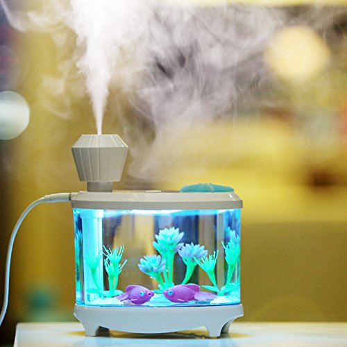 USB Fish Tank Humidifier Ultrasonic Whisper-Quiet Operation Cool Mist Humidifier with 7 Night Lights and 8 Hours Shut-off Auto for Bedroom Babyroom Home Office Kids Baby,White Color