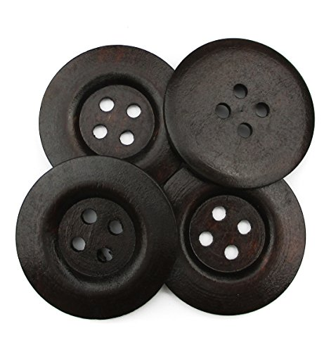 All In One 10pcs Dark Brown Large 4 Hole Sewing Wood Buttons with Wide Edge 50mm(2)