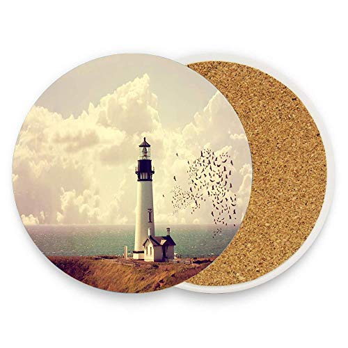 (BeautyToiletLidCoverABC Sea Wave White Cloud Seaside Scenery Coaster for Drinks,Wallpaper Ceramic Round Cork Table Cup Mat Coaster Pack Of 1)