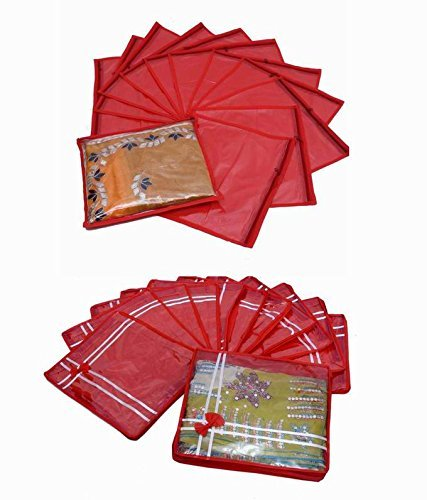 Kuber Industries Single Packing Saree Cover 12 Pcs Set & Bow Saree Cover 12 Pcs Set