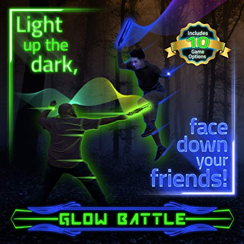 Glow Battle: A Light Up Outdoor Sword Game for Groups with 10 Organized Games – Glow-in-The-Dark, Active Fun for Kids, Teens and Adults