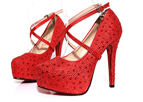 Scarpe da sposa YCMDM Red singoli pattini alti talloni di Strass impermeabili della piattaforma dei pattini , red , 37
