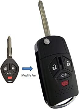 ECCPP 2X 4 Button Uncut Keyless Entry Remote Control Car Key Fob Shell Case Replacement fit for Mitsubishi Series OUCG8D-620M-A