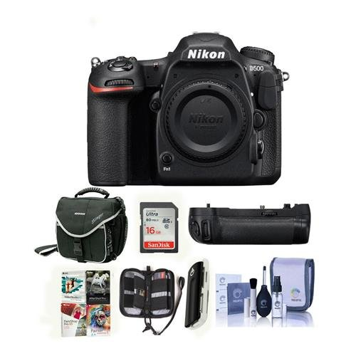 Nikon D500 DSLR Body - Bundle MB-D17 Multi Power Battery Pack, 16GB SDHC Card, Camera Case, Cleaning Kit, Memory Wallet, Card Reader, Software Package -  1559 G