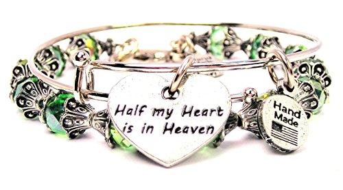 2 Piece Set Half My Heart Is in Heaven Peridot Green Bangle Bracelet Collection