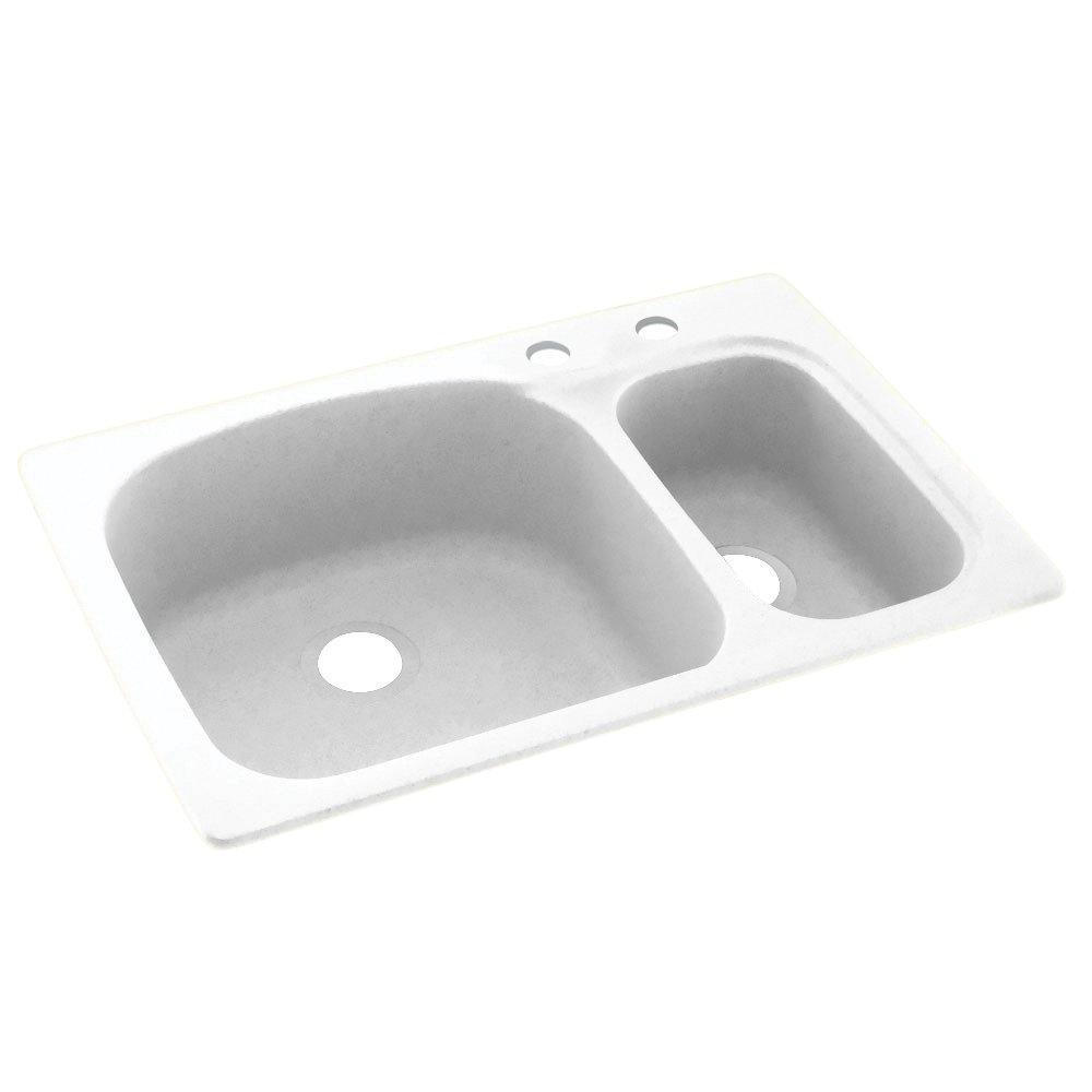 "Swanstone KS03322LS.010-2C 2-Hole Solid Surface Kitchen Sink, 33"" x 22"", White"