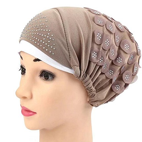 Women Muslim Stretch Turban Floral Rhinestone Hat Cap Head Scarf Wrap (Khaki)