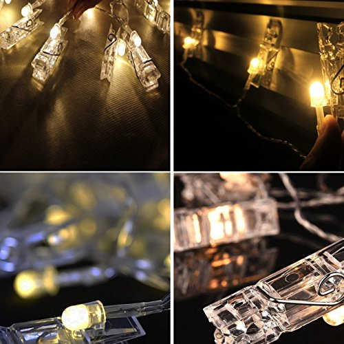 40 LED Photo Clips String Lights - Adecorty USB Powered Christmas String Lights for Wedding Party Home Dorm Wall Decor, Clips Lights for Christmas Cards Photos, Best Gifts for Teen Girls (Warm White) by Adecorty (Image #5)