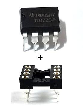 Texas Instruments TL072CP IC amplificador operacional y 8 pines DIP Sockets con mecanizado Contacto Pins (