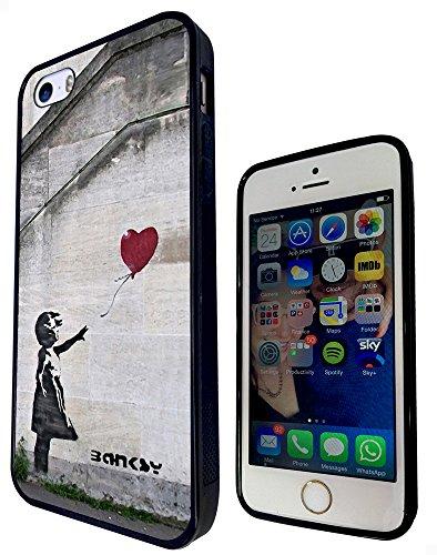 545 - Banksy Balloon Girl Graffiti Art Design iphone 5C Fashion Trend Protecteur Coque Gel Rubber Silicone protection Case Coque - Noir