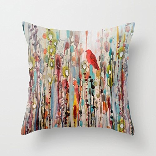 - Nextchange Watercolor Plant World Red Bird Set to Rest Cotton Pillowcase Comfortable Decoration for Sofa Bed Chair Car (Two Sides) Pillow Cover Size 22x22 in