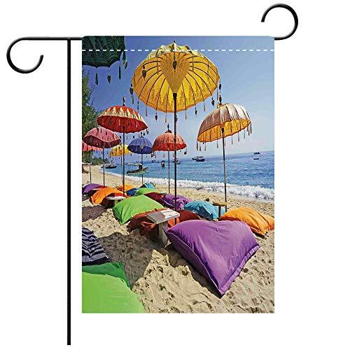 - Double Sided Premium Garden Flag Balinese Decor Pristine Beach Bathed by the Bali Sandy Seashore Daytime Umbrellas Pillows Leisure Decorative Deck, patio, Porch, Balcony Backyard, Garden or Lawn