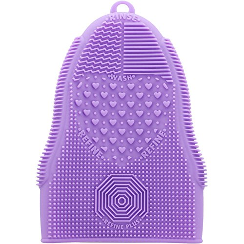 ScivoKaval Makeup Brush Cleaner Glove Mat Mitt Silicone Cosmetic Cleaning Scrubber Tool Face Brushes and Eye Brush Washing Pad Purple (Sponge Board)
