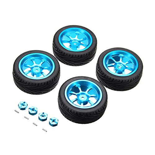 Price comparison product image Quickbuying 4PCs Rim and Tires with 7mm To 12mm Adapter For 1/18 WLtoys A959-B A949 A959 A969 A979 K929 Rc Car Parts aluminium alloy Wheels