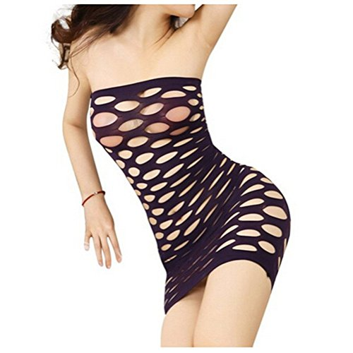 Aidonger - Mujer rock 100% elastano mini dress Morado