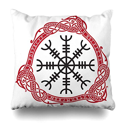 Throw Pillow Cover Old Silver Ancient Aegishjalmur Meaning Helm Awe Terror Culture Vintage Barbarian Warrior Black Home Decor Pillow Case Square Size 18 x 18 Inches Zippered Pillowcase ()
