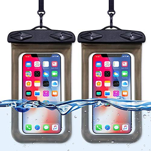 Game Pouch - Beylife Universal Waterproof Phone Case, Cellphone Dry Bag Pouch Waterproof Case for Water Games Protect iPhone X 8 7 6 6s Plus Galaxy S9 S8 Edge Note Google Pixel LG HTC (2 Pack, Black)