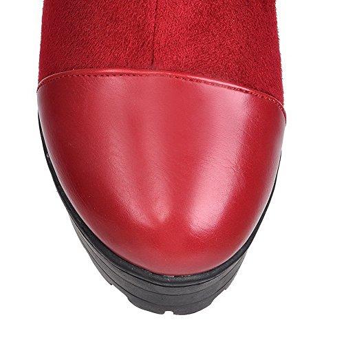 AllhqFashion Mujeres Sin cordones Puntera Redonda Caña Alta Tacón ancho Plataforma Botas Rojo