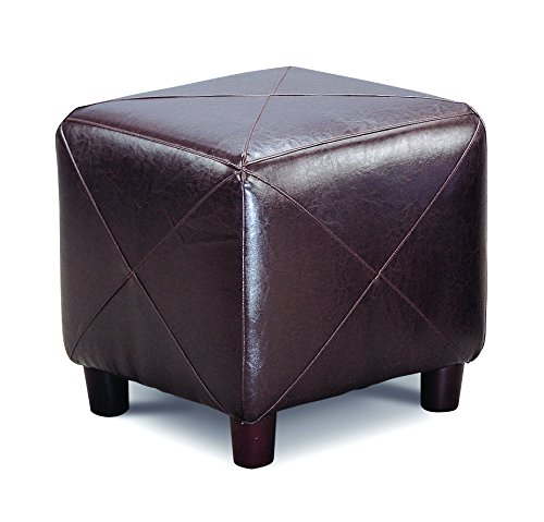 Coaster Casual Faux Leather Cube Ottoman, Brown