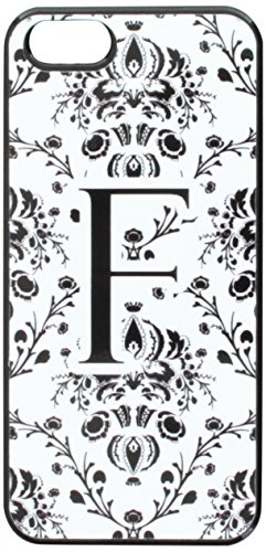 Graphics and More Letter F Initial Damask Elegant Black White Snap-On Hard Protective Case for iPhone 5/5s - Non-Retail Packaging - Black