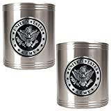 Great American Products Army Seal Stainless Steel Can Holder Set (2-Piece), Silver