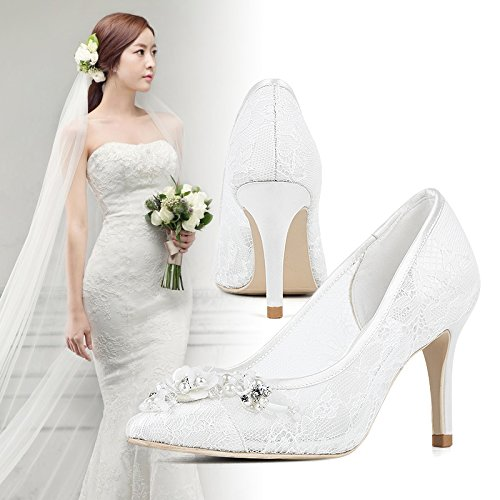 Sandals High Bride Women In 4 With Shoes Heels Shoes White Women Documentary Wedding Prom The Shoes Pointed VIVIOO Wedding 5xwqg0pW0Z