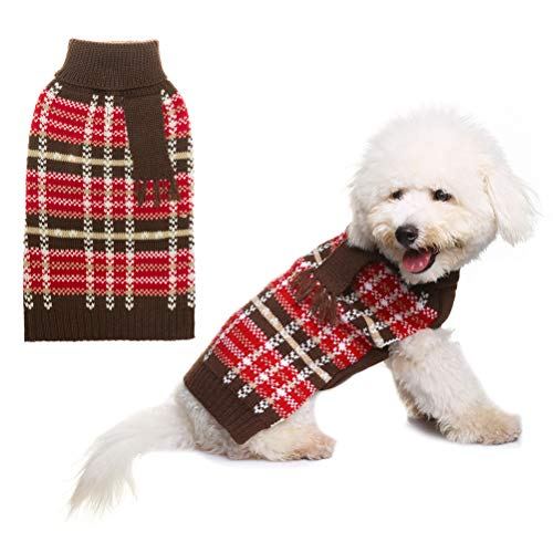 JIATECCO Dog Plaid Sweater Fake Scarf, Keep Warm for Doggies in Winter,Red and Brown