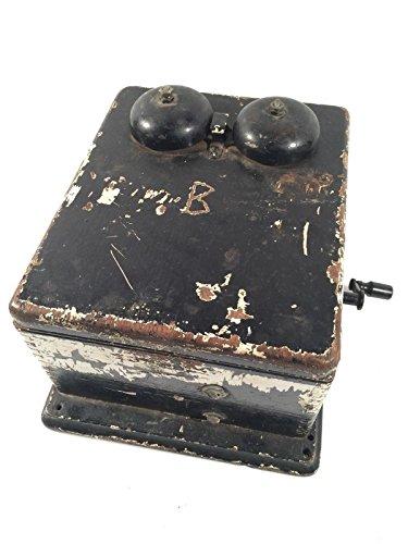 Western Electric Phone Vintage Oak Ringer Box Dovetail Corners Crank Bells Work - Tail Ringer