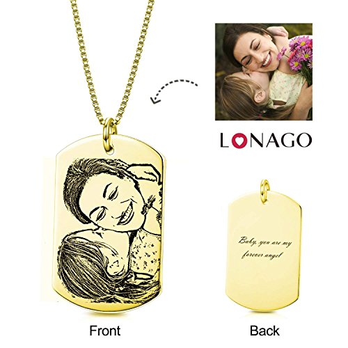 Charm Tag Necklace Photo Dog (LONAGO Personalized Photo Necklace Custom Text Memorial Picture Words Engraved Pendant Valentine's Mother's Day Christmas Halloween Friends Gift (Rectangle Shape 18K Gold Plated))