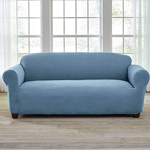 BrylaneHome Bh Studio Stretch Diamond Sofa Slipcover - Light Blue
