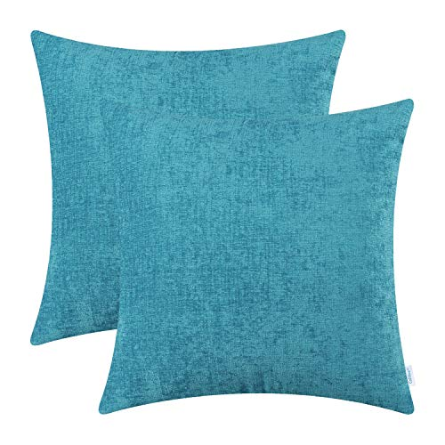 CaliTime Pack of 2 Cozy Throw Pillow Covers Cases for Couch Sofa Home Decoration Solid Dyed Soft Chenille 18 X 18 Inches Lake Blue