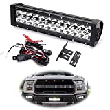 iJDMTOY Behind Grille LED Light Bar Kit For 2017-up Ford Raptor, Includes (1) High Power Double Row LED Lightbar, Inside Grill Mesh Mounting Brackets & Relay Wire Switch