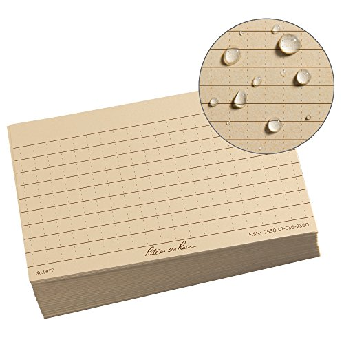 "Rite in the Rain All Weather Index Cards, 3"" x 5"", Universal Pattern, Tan (No. 991T)"