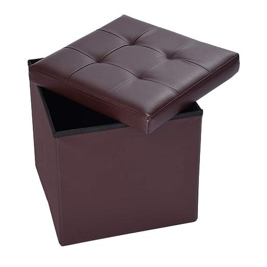 Super Upholstered Folding Storage Ottoman Storage Pocket Gray Machost Co Dining Chair Design Ideas Machostcouk