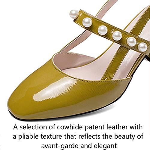 féminine Sandales talons sexy jaune pour 38 style similicuir en été Mode Bandeau hauts femmes talons blanc nouveau à Baotou aiguilles Escarpins à fqr4fZn