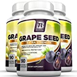 BRI Nutrition Grapeseed Extract - 95% Proanthocyanidins 400mg Servings - Strongest Standardized Extract On The Market - 90 Veggie Capsules 3-PK