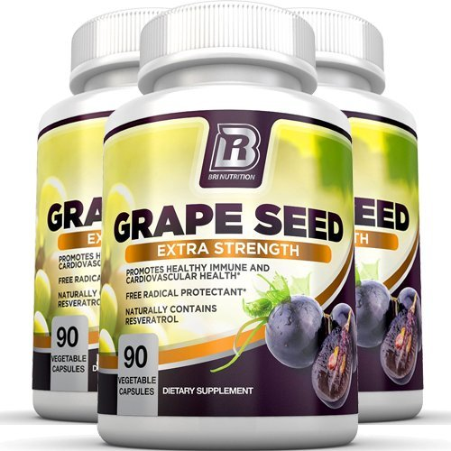 BRI Nutrition Grapeseed Extract - 95% Proanthocyanidins 400mg Servings - Strongest Standardized Extract On The Market - 90 Veggie Capsules 3-PK by BRI Nutrition