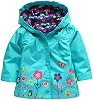 Wennikids Baby Girl Kid Waterproof Floral Hooded Coat Jacket Outwear Raincoat Hoodies