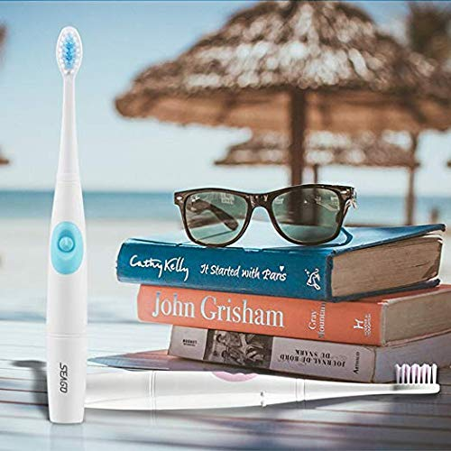 Waterproof Travel Electric Tooth Brush for kid and 2 Replaceable Brush Heads Portable Sonic Toothbrush Battery Operated(Blue) by EIOU (Image #5)