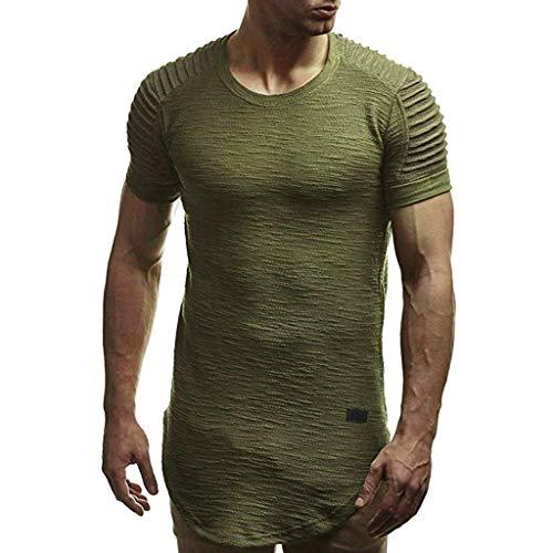 (POQOQ T Shirt Top Blouse Fashion Men's Summer O Neck Casual Slim Short Sleeve T Shirt Top Blouse M Army)
