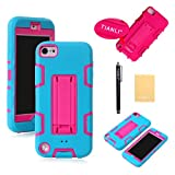 TIANLI(TM) Robot Stand Rugged Hard Soft Case For Apple ipod touch 5th Generation,Screen Protectors,Stylus and Cleaning Cloth Blue Pink ZJ