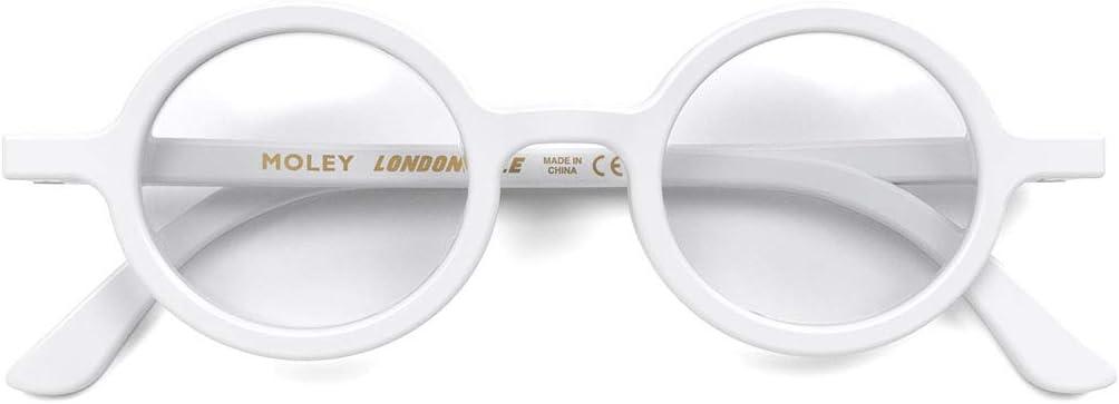 LONDON MOLE Eyewear Moley Round Blue Light Blocking Glasses Cool Blue Blockers Matt Black Anti Eyestrain for Screens Mens Womens Unisex