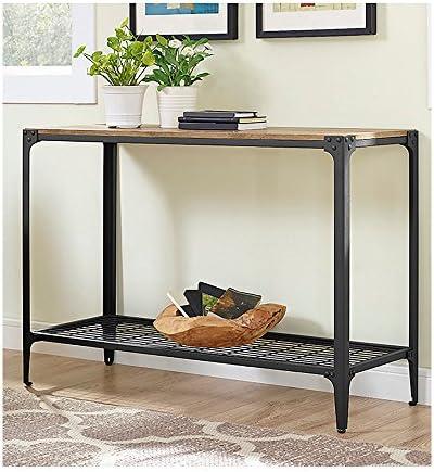 Walker Edison Furniture Company Angle Iron Rustic Wood Console Table in Barnwood