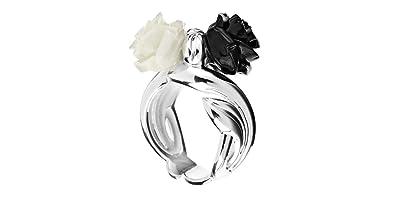Rose Haylland Bague fleur César en argent 925, résine, noire et blanche, 8.9 e11745c9861f